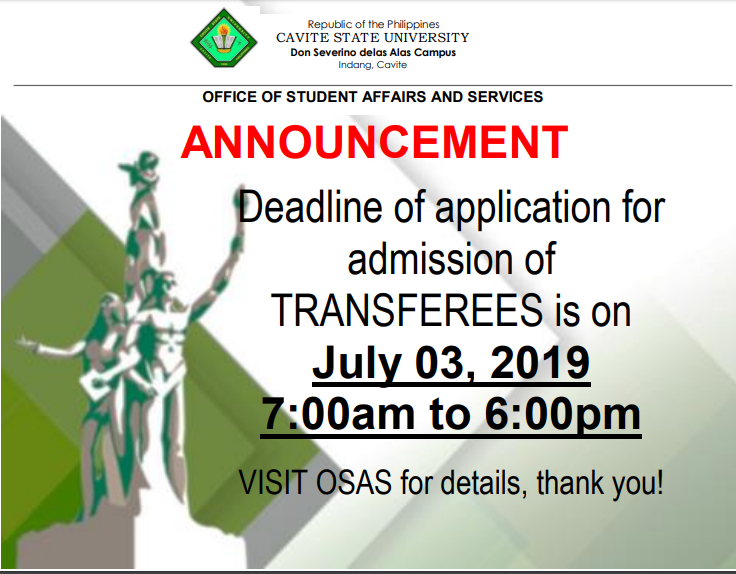 Admission Updates: Admission for Transferee
