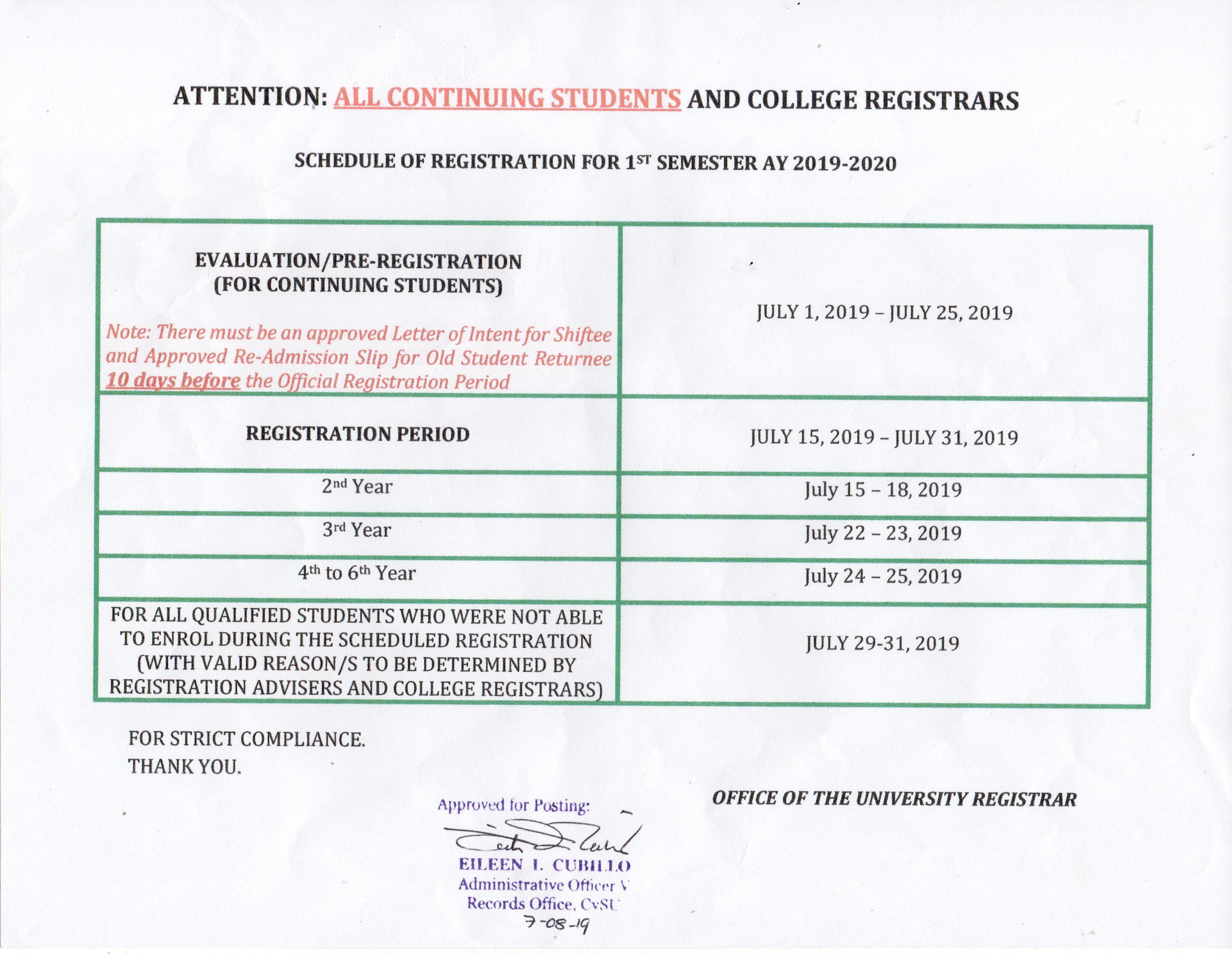 Schedule of Regsitration for 1st Semester 2019-2020